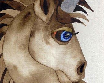 Whimsical art, original art, unicorn art, whimsical animal art,  watercolor painting, unicorn gift, kids room art, nursery art, unicorn