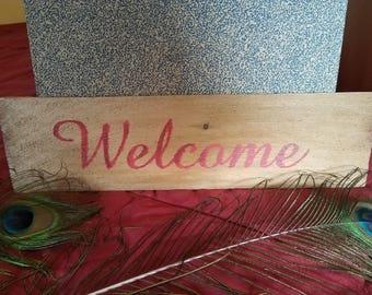 "4.25"" x 15.5"" Cedar Shingle ""WELCOME"" hand painted Sign wood"