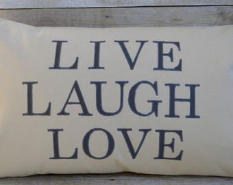 Live Laugh Love Pillow,Farmhouse Pillow,Worded Pillow,Rustic Home Decor, Expression Pillow, Inspirational Pillow,Housewarming gift,Wedding