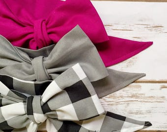 Gorgeous Wrap Trio (3 Gorgeous Wraps)- Boysenberry, Platinum & Noir Gingham Gorgeous Wraps; headwraps; fabric head wraps; bows