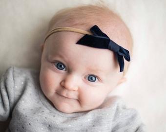 MIDNIGHT NAVY VINTAGE Velvet Skinny Hand-tied Bow (Headband or Clip)- velvet bow headband; velvet bow; newborn headband; baby headband; bow
