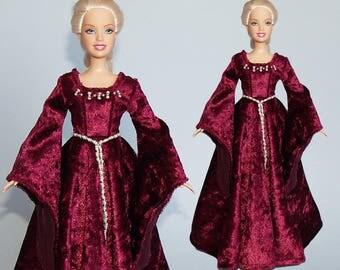 Medieval Barbie gown – handmade