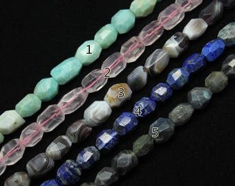 5 stones choice,Center Drilled Faceted Nugget Beads,Amazonite Rose Quartz Bostwana Agate Lapis Labradorite Cut Bead Chunks Pendants Jewelry