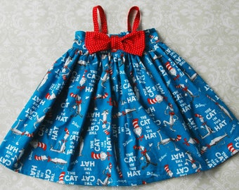 Cat in the Hat Back to School Dress or Top - Girls Dress, Toddler Dress, Girls Top, Toddler Top - Hattie Dress