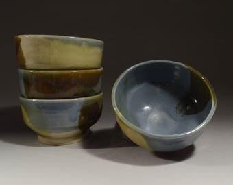 4 Handmade Stoneware Bowls