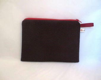 Black dots and Red make-up kit-pouch tucks handbag, school, documents or your needs