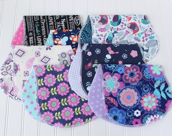 Baby Girl Burp Cloths - Set of 7 - Baby Shower Gift - Baby Gift - Aztec