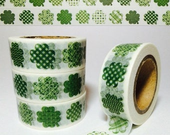 30% OFF ENTIRE STORE Fun Four Leaf Clovers, St. Patrick's Day, Washi Tape, Full Roll and Sample Lengths