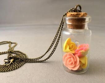 Rose charm necklace, glow in dark roses, rose charms, charm necklace, pink roses, yellow roses, Beauty and the beast necklace
