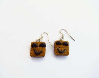 these chocolate polymer clay cookie earrings