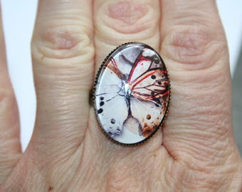 Butterfly ring in shades of white and Red