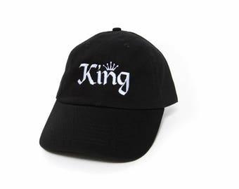 King Hat, King Dad Hat, King Baseball Cap, Embroidered Baseball Cap, Adjustable Strap Back Baseball Cap, Low Profile, Black
