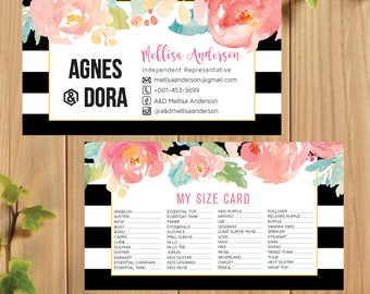 PRINTABLE Agnes and Dora My Sizes Card, Size Cards, Business Card, Business Cards, Digital File AG029