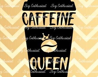 Caffeine Queen SVG, Coffee Svg, Coffee to go Svg, Coffee Cup Svg, Coffee Bean Svg, Cricut, Dxf, PNG, Vinyl, Eps, Clip Art, Vector,