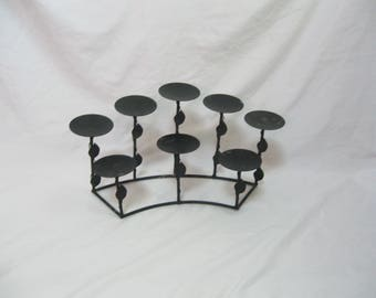 Vintage Large Black Wrought Iron and Metal Candle Holder Table Top Fireplace Insert Outdoor Lighting Indoor Lighting SEE Details
