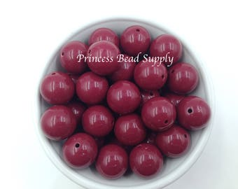 20mm Maroon Solid Chunky Beads Set of 10,  Bubble Gum Beads, Gumball Beads, Acrylic Beads