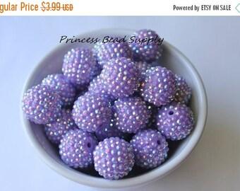SALE 22mm Lavender Light Purple AB Rhinestone Chunky Beads Set of 10, Light Purple Bubble Gum Beads, Gumball Beads, Acrylic Beads