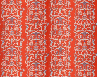 DESIGNER CHINOISERIE LINEN Fabric 10 Yards Persimmon Multi