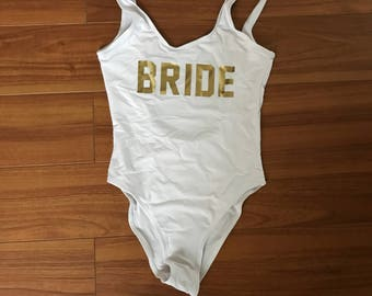 Bride One Piece Swimsuit (White w/ Gold)