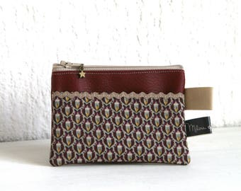 Purse taupe and Burgundy Luna Collection