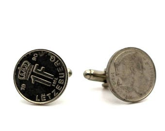 "Authentic ""Luxembourg"" Jean 1 franc coin cuff links. TMPL_SKU004766"