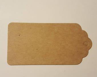 50 Brown kraft paper rectangular scalloped top gift tags with holes for labels, merchandise, decorating, organizing, diy or gift giving