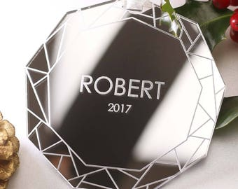 Geometric Christmas Bauble, Modern Christmas Decoration Ornament, First 1st Christmas, Couples Christmas Gift, Personalised Baby's Gift