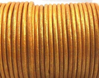round leather Yellow Gold 3mm by 20cm