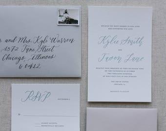Jane - Semi-Custom Calligraphy Invitation Suite with Modern Calligraphy