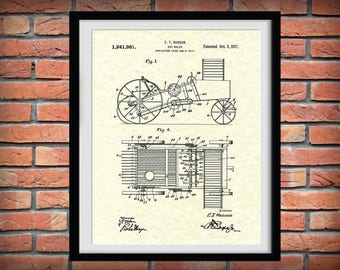 1917 Hay Baler Patent Print - Agriculture Wall Art - Tractor - Farming - Farm Equipment Patent