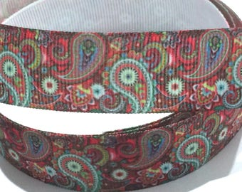 """7/8 inch Paisley Pattern Red Multicolor Tones Printed Grosgrain Ribbon for Hair Bow 7/8"""""""