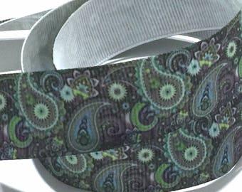7/8 inch Paisley Gray Grey Green Printed Grosgrain Ribbon for Hair Bow Colorful
