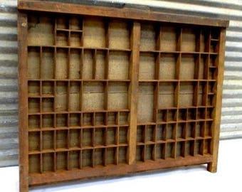 Printers Drawer, Wood Block Typeset Tray, Letterpress Thimble Shelf Display a 17 Typeset Drawer, Letterpress Tray, Shadow Box