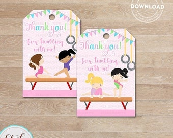 50% OFF SALE Gymnasitcs Favor Tags, Gymnastics Thank You Tags, Gymnastics Gift Tags, Tumbling Favor Tags, Printable Decoration, Instant Down