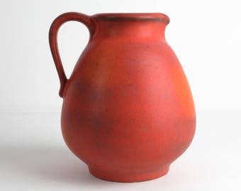 Red orange ceramic vase mid century, west German pottery, vintage 70s, Duemler Breiden