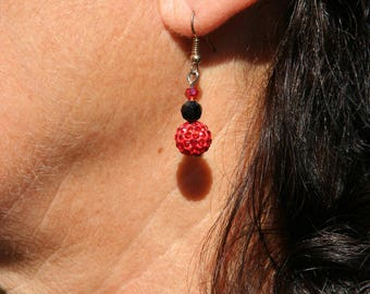 Red and black earrings with Rhinestones
