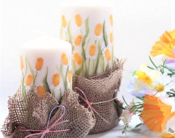 Hand painted Daffodil Narcissus  Wax Pillar Candle
