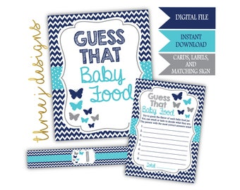 Butterfly Baby Shower Guess That Baby Food Game Cards, Labels and Sign - INSTANT DOWNLOAD - Navy Blue, Teal and Gray - Digital File - J007