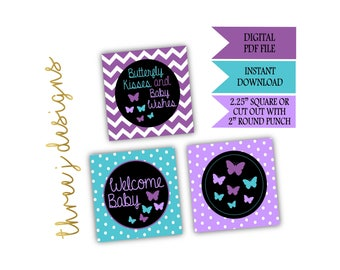 Butterfly Baby Shower Cupcake Toppers - INSTANT DOWNLOAD - Purple and Teal - Digital File - J001