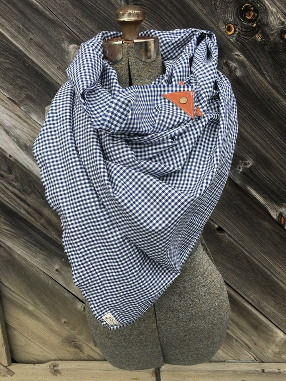 Blue and White check scarf with leather detail