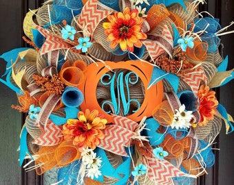 Fall Wreath, Burlap Wreath, Everyday Wreath, Pumpkin Wreath, Monogram Wreath, Front Door Wreath