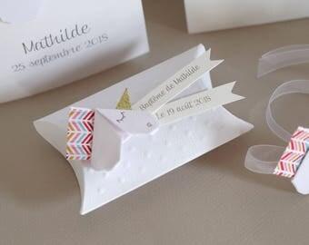 White Unicorn girl baptism favors box / fuchsia - welcome handmade gift, original, high-end baptism, wedding