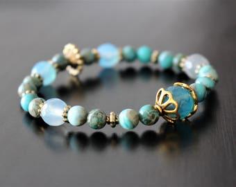 Stone bracelet, teal impression jasper, agate