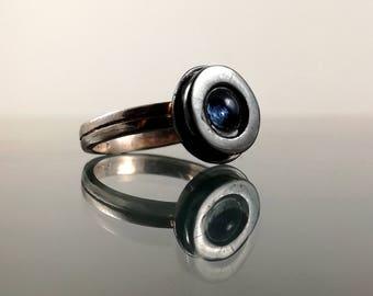 Blue glass ring |Mini glass ring |Black plated glass stone ring |Glass stone ring |Mini drum ring |Mini blue ring |Black plated ring