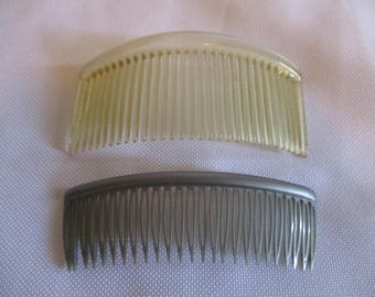 2 Vintage hair combs- clear and grey