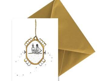 Carte pliée Mariés dans montre, enveloppe or