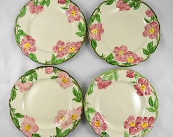 "Vintage Franciscan Desert Rose Luncheon Plates Set of 4 USA 1940's ~ 9.5"""