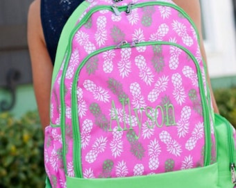 Monogrammed Personalized Embroidered Pink and Green Pineapple Bookbag Booksack with Zippers