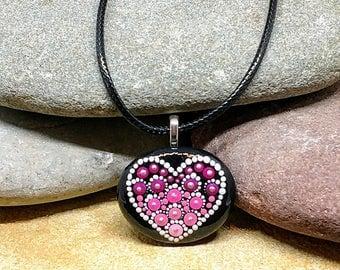 Hand painted heart mandala stone pendant