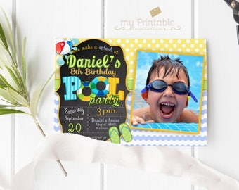 Pool Party Birthday Invitation with Photo / Digital Printable Swimming Invite for Kids / DIY Party